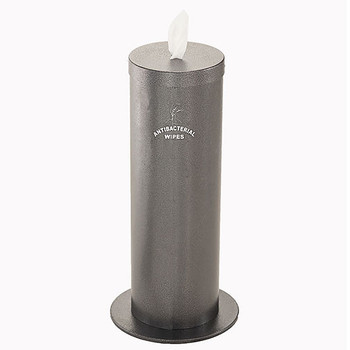 Glaro Antibacterial Wipe Dispenser F1027SSV - Floor Standing with Wipe Storage and Silk Screened Sign - Silver Vein