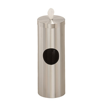 Glaro Antibacterial Wipe Dispenser F1028SA - Floor Standing with Trash Can - No Base - Satin Aluminum