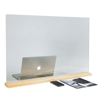 "Peter Pepper Sneeze Guard - Desktop - Portable - Acrylic - Wooden Base - 24"" x 24"" - TTP2424-W"