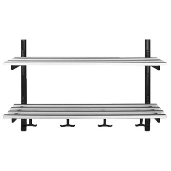 Camden-Boone Unlimited Aluminum Wall Mount Coat Hook Rack with Double Shelf - 106