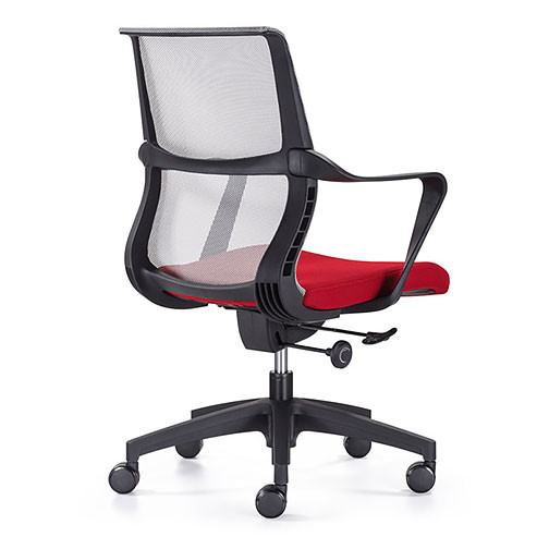 Woodstock Ravi Desk Chair - Red - Mesh Back - Back Angle View