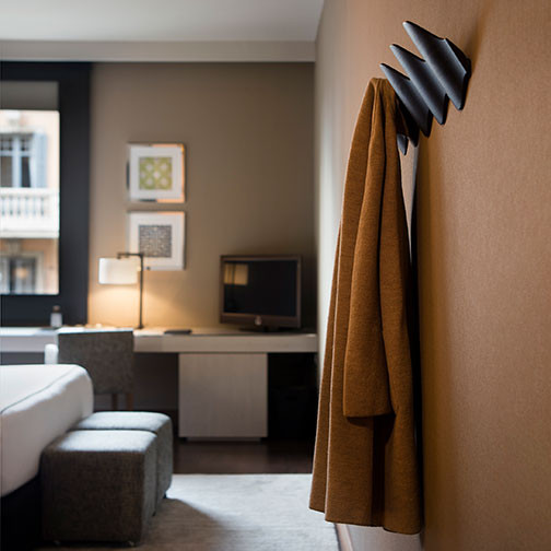 Magnuson Ona Coat Rack - Grey Finish - Side View - In Use