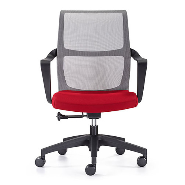 Woodstock Ravi Desk Chair - Red - Mesh Back - Front View