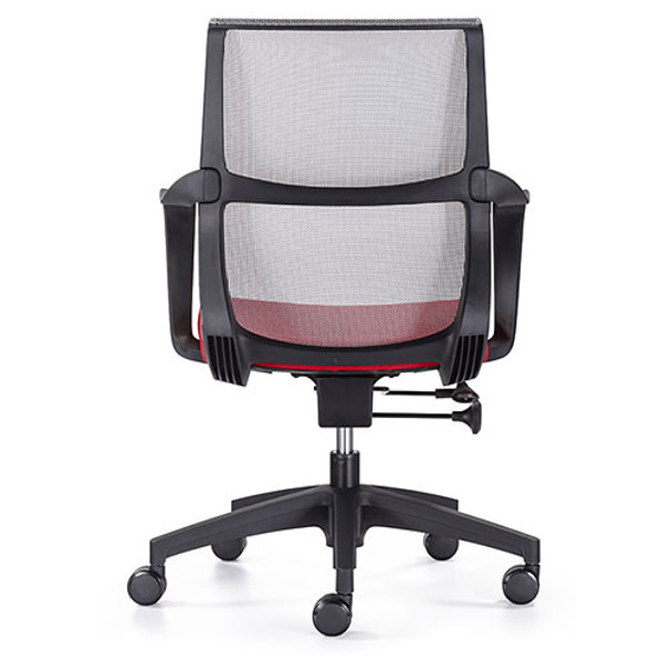 Woodstock Ravi Desk Chair - Red - Mesh Back - Back View