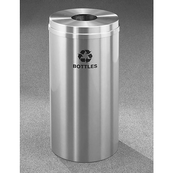 Glaro RecyclePro 1 Bottle Recycling Bin - 12 x 31 - 12 Gallon - B1232SA - finished in Satin Alunimum, Recycling Bottles Label