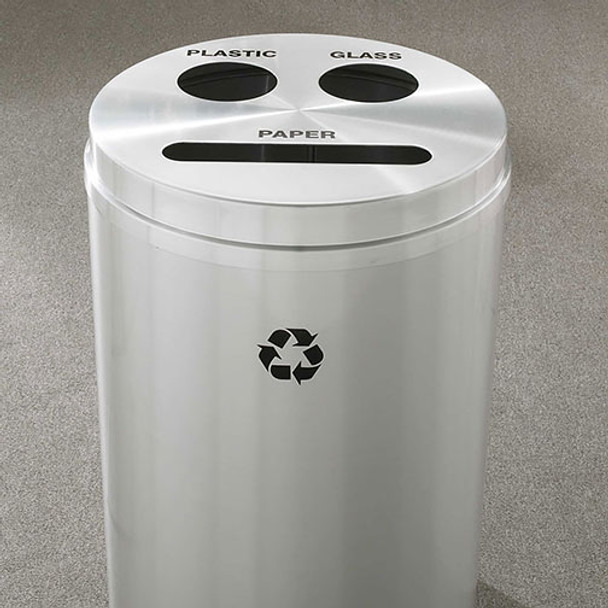 Glaro RecyclePro 3 Triple Purpose Recycling Station - 20 x 31 - 33 Gallon - BCP2032SA  - finished in Satin Aluminum, Recycling Paper, Plastic, and Glass Labels
