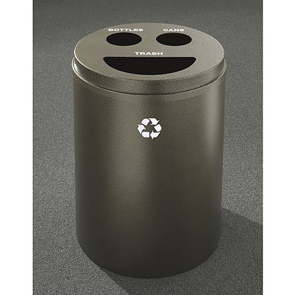 Glaro RecyclePro 3 Triple Purpose Recycling Station - 20 x 31 - 33 Gallon - BCT2032 - finished in Bronze Vein, Recycling Bottles, Cans and Trash Labels