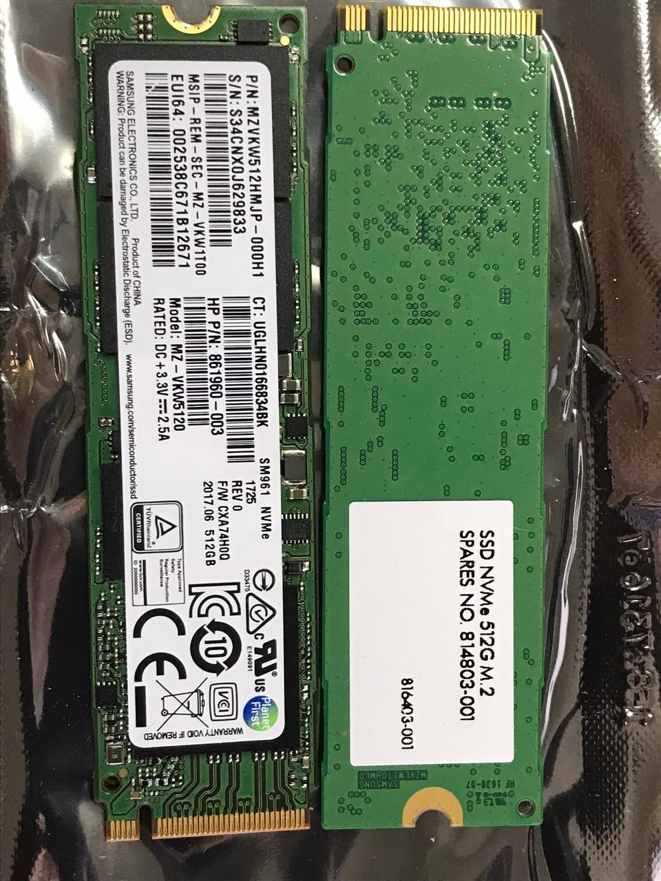 HP SPS-SSD 512G M 2 PCIe G3x4 NVME -On PCIe - 814803-001