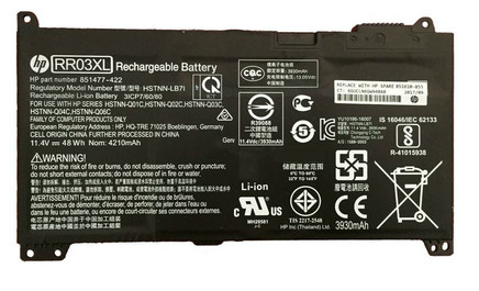 HP Battery (Primary) - 4-cell lithium-ion (Li-Ion), 4.21Ah, 48Wh (RR03048XL-PR) - 851610-855