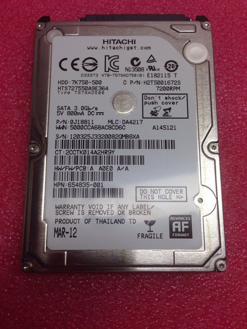 HP ORIGINAL 500GB SATA 7200RPM 2.5 9.5MM HDD - 654835-001