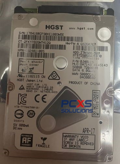"HP 500GB 7.2K RPM SATA 7mm 2.5"" Hard Drive  - 692491-005"