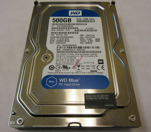 HP ORIGINAL 500GB SATA 7200RPM 2.5 9.5MM HDD - 837116-001