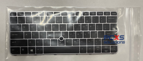 HP Standard keyboard with PointStick - Spill-resistant design with DuraKey coating (United States) non backlit elitebook 820 G3/G4 725 G3 / G4 with silver Frame - 826631-001