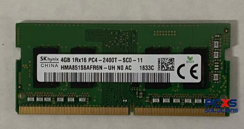 Hynix 4GB PC4-19200 DDR4-2400MHz non-ECC Unbuffered CL17 260-Pin SoDimm - HMA851S6AFR6N-UH