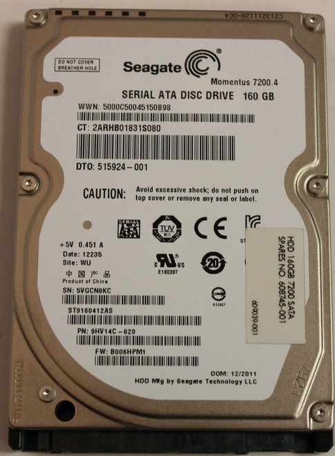 HP SPS-HDD 160GB 7200 SATA-3 EC10 - 608745-001