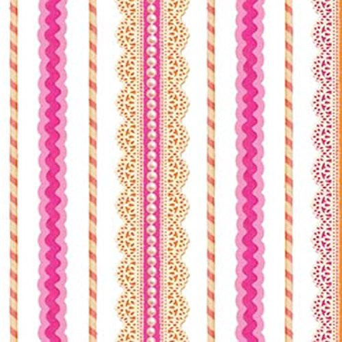 Striped fabric in pinks and white.