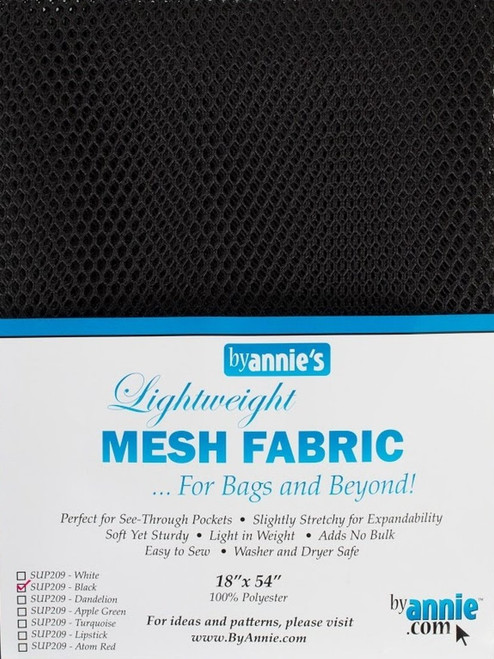 """By Annie PBA02030 Light Weight Mesh Fabric, 18"""" by 54"""", Black"""
