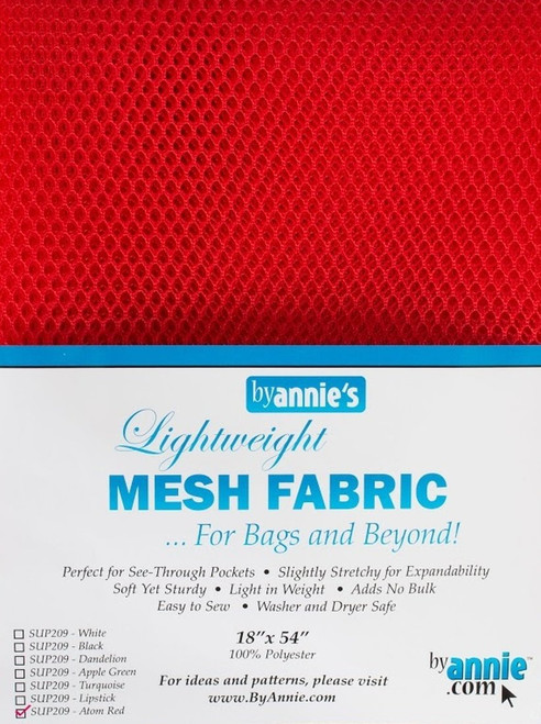 "By Annie PBA02029 Light Weight Mesh Fabric, 18"" by 54"", Atom Red"