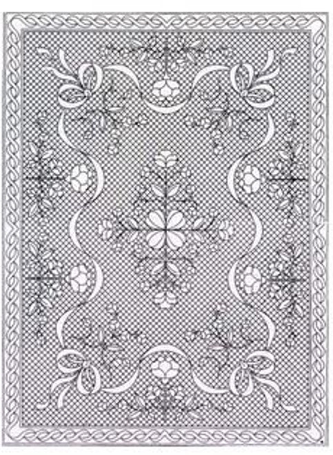 Pre-Printed Pre Stenciled Wholecloth Quilt Top with Binding Floral Fantasy  Crib Size 40x54