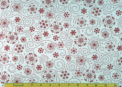 Christmas Holly Jolly Snow Flake Red Fabric