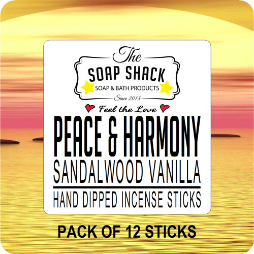 Sandallwood Vanilla Hand dipped incense. Pack of 12 incense sticks by The Soap Shack