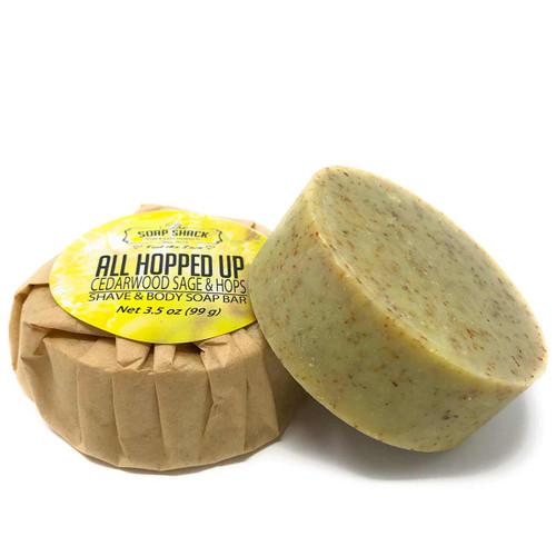 Natural Shave Soap Cedarwood Sage and Hops 3.5 os round