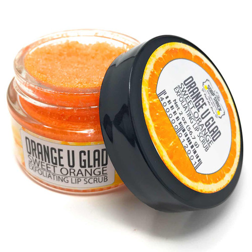 Sugar Lip Scrub - Orange Cream flavored in a small 1 oz glass jar.