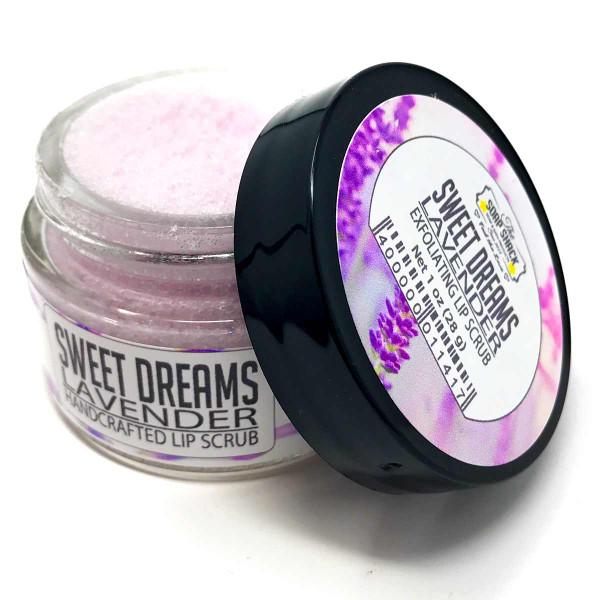 Sugar Lip Scrub with Lavender essential oil in a small 1 oz glass jar
