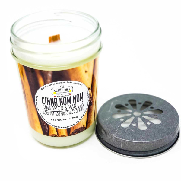 Cinnamon Vanilla scented Woodwick 6 oz candle in a jelly jar