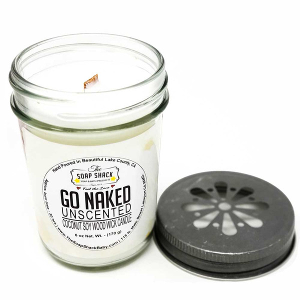 Unscented woodwick soy/coconut candle handpoured in beautiful Lake County California by The Soap Shack