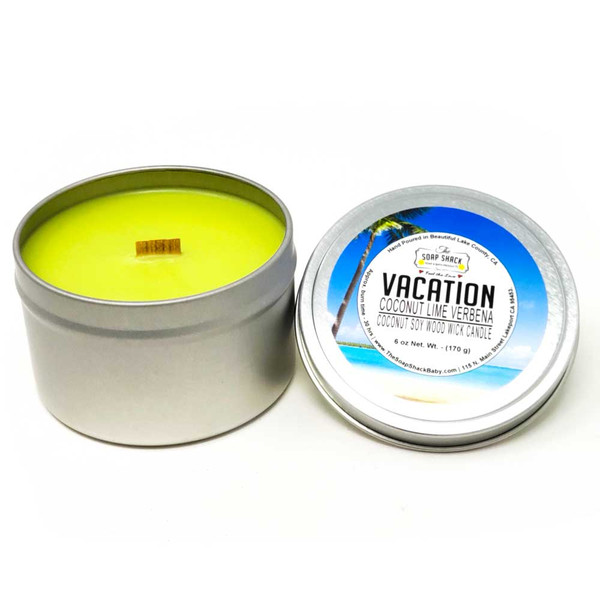Coconut Lime Verbena scented woodwick soy/coconut candle handpoured in beautiful Lake County California by The Soap Shack