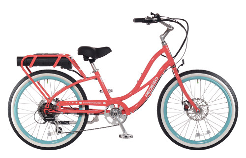 Pedego Step-Thru Comfort Cruiser - Coral with Standard White Wall Tires