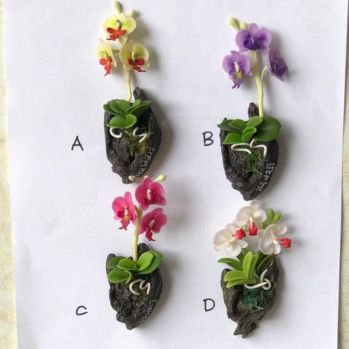 Phalaenopsis Clay Orchid Magnet (Wood)