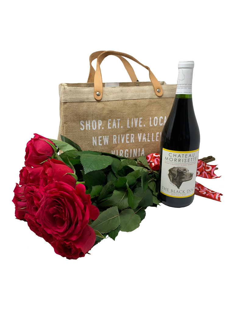 Add her favorite flowers and a bottle of your favorite wine to this tote for a spectacular Valentine gift she'll use again and again. . .