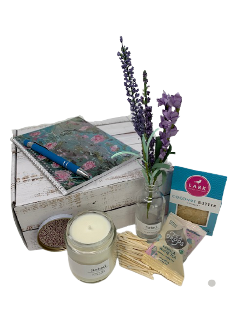 Journal gift with White Tea Lavender 4 ounce soy candle, coconut butter cookies and vanilla Tea Drop.  Original artwork journal by Pamela McLean.