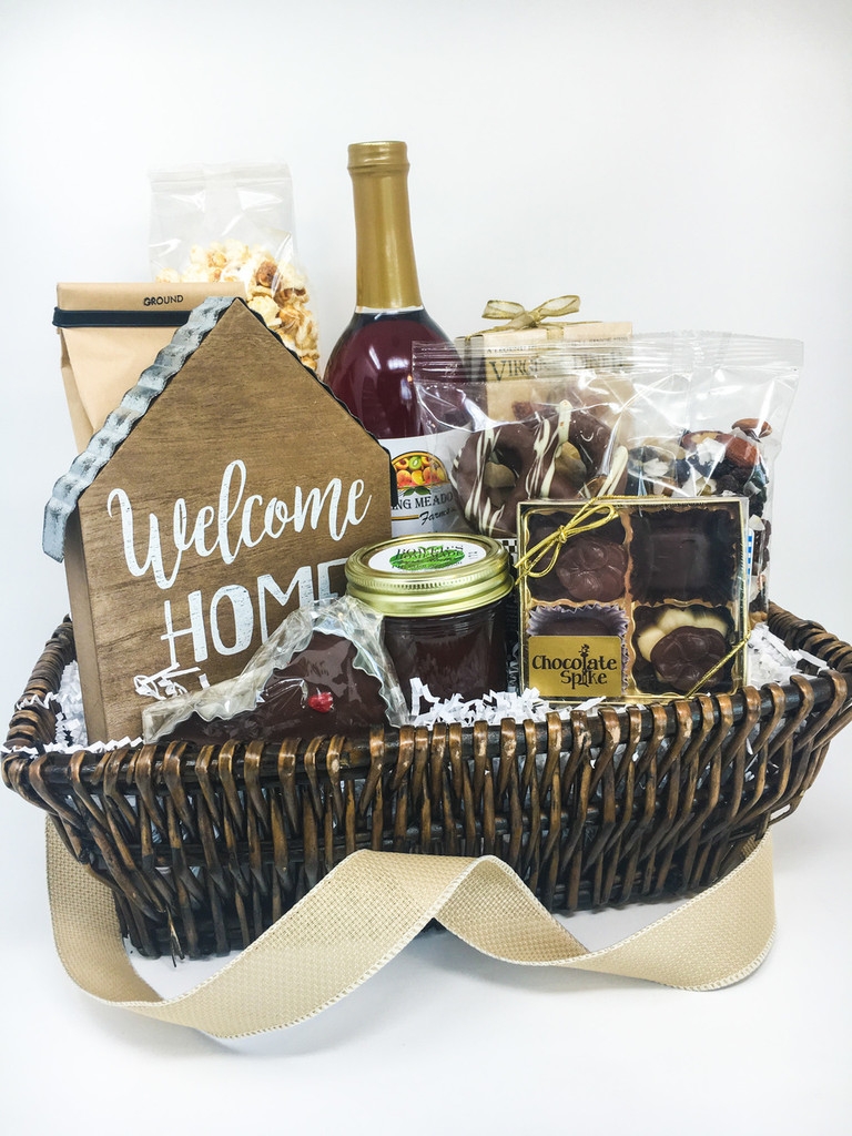 This basket is filled with VA products and a wonderful wooden sign to celebrate the new home!