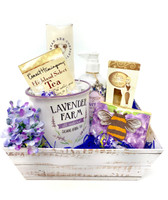 Luxury spa set complete with oversized mug with treats and lavender products.