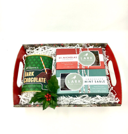 The St. Nicholas Collection by Lark includes scrumptious mint chocolate cookies and almond spice cookies, in addition to Dark Chocolate Cocoa.