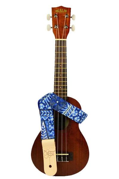 Kala Handmade Ukulele Straps - Blue Hibiscus
