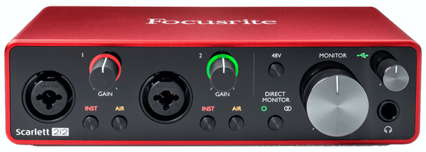 Focusrite Scarlett 2i2 2 Input / 2 Output Audio Recording Interface