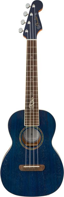 Fender Dhani Harrison Ukulele - Sapphire Blue Transparent w/Gigbag