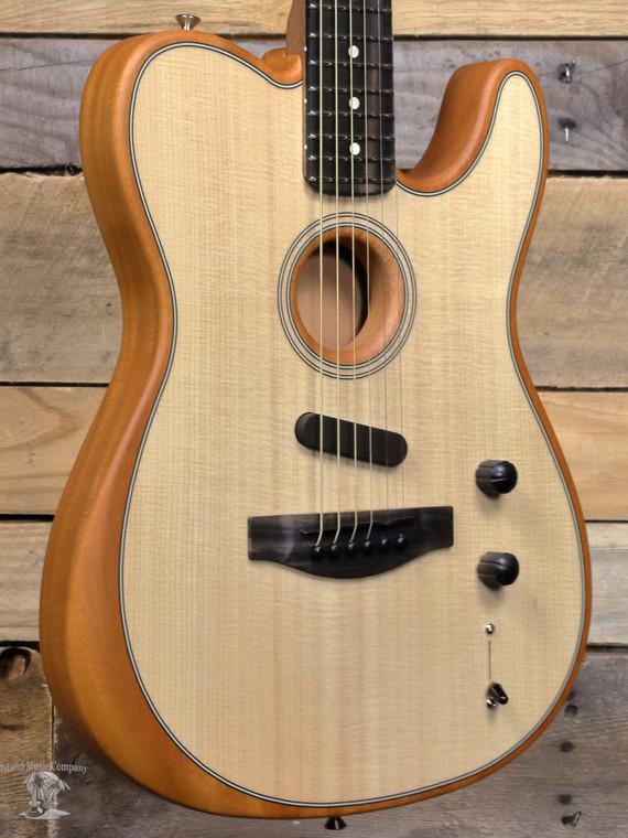 Fender American Acoustasonic Telecaster Acoustic/Electric Guitar Natural w/ Gigbag