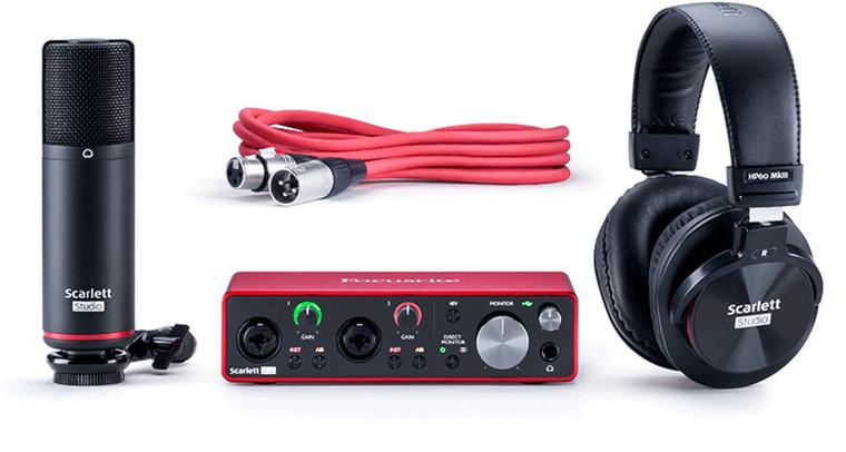 Focusrite Scarlett 2i2 2 Input / 2 Output Audio Recording Interface Studio Pack