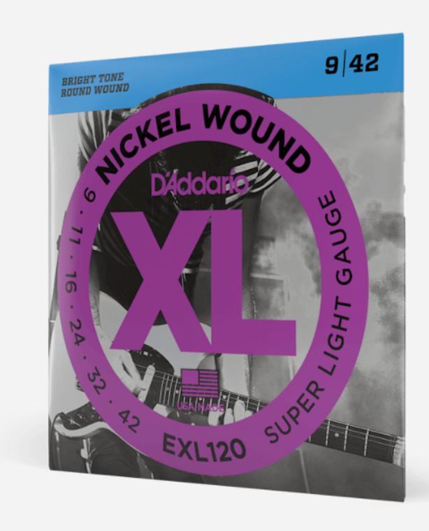 D'Addario EXL120 Nickel Wound Electric Guitar Strings - Super Light, 9-42