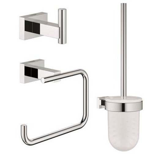 Grohe 40757001 Essentials Cube Guest Restroom Set 3-In-1 Chrome