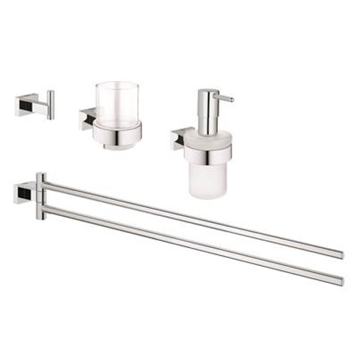 Grohe 40857000 Selection Cube Toilet Brush Set Chrome
