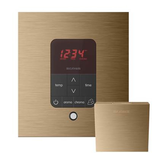 Mr. Steam MSITPLUSSQ-BK iTempo Plus Square Steam Shower Control in Black with Polished Chrome Bezel