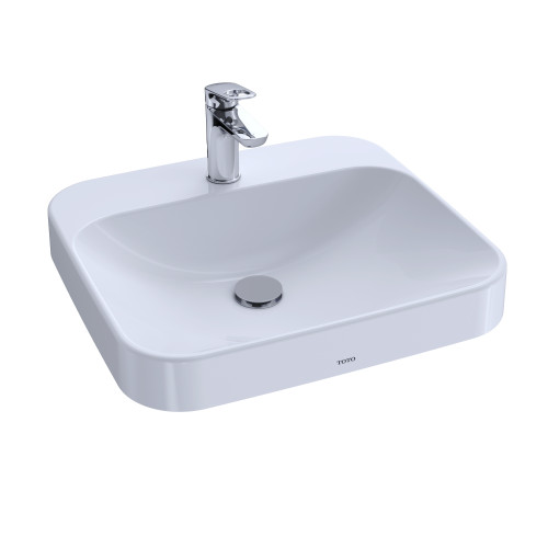 """TOTO LT415G#01 Arvina Rectangular 20"""" Vessel Bathroom Sink with CeFiONtect for Single Hole Faucets, Cotton White - LT415G#01"""