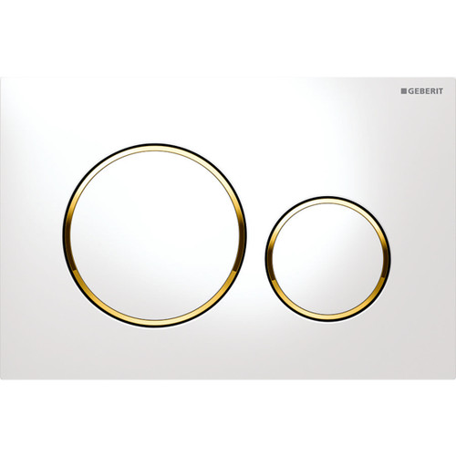 Geberit Duravit 115.882.KK.1 Sigma20 Dual Flush Actuator White-Polished Gold-White