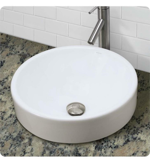 Decolav 1426-CWH Classically Redefined Round Vitreous China Semi-Recessed Vessel SinkDecolav 1426-CWH Classically Redefined Round Vitreous China Semi-Recessed Vessel Sink